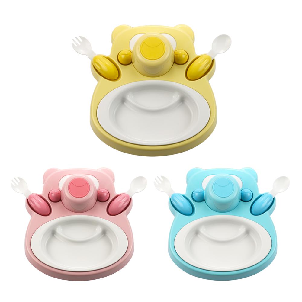plastudio|玉米兒童餐具-Honey Bear-黃色