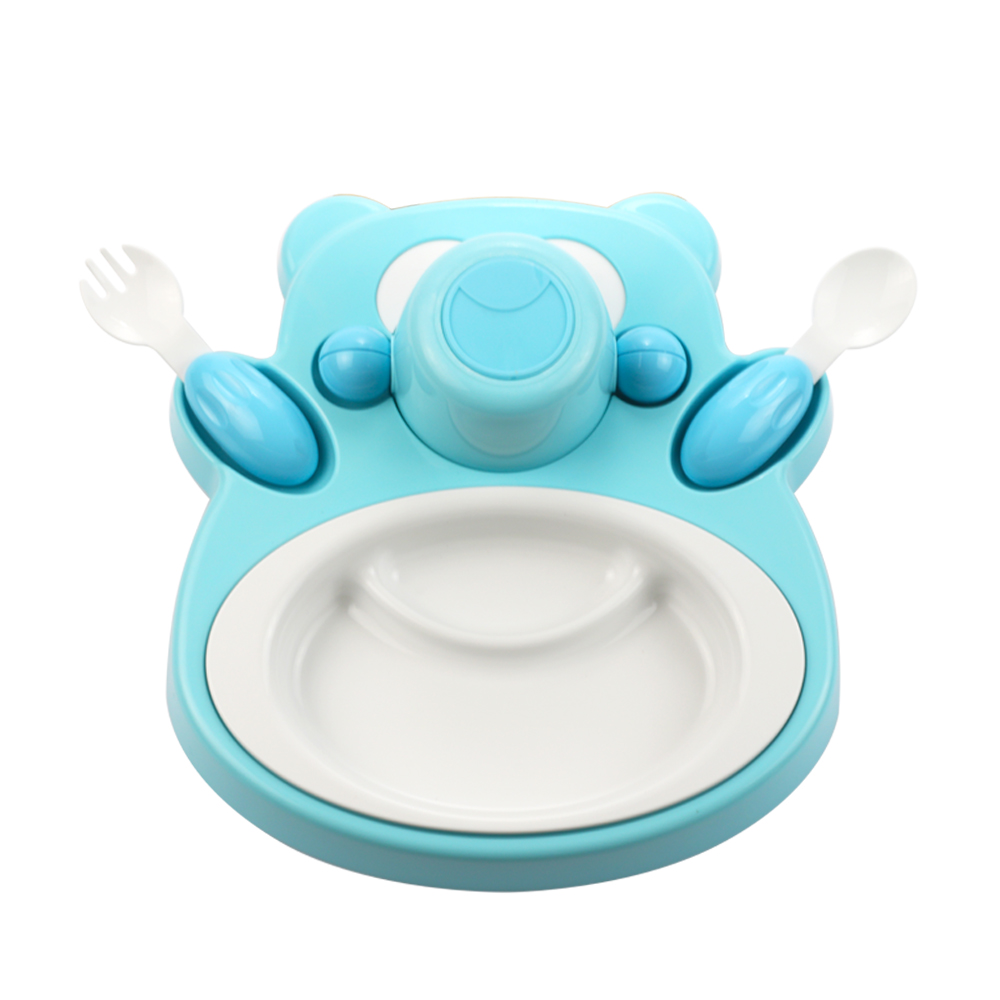 plastudio|玉米兒童餐具-Honey Bear-藍色