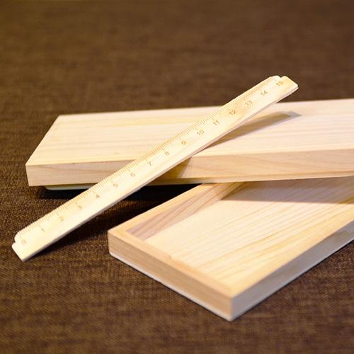 一郎木創|檜木筆盒附尺