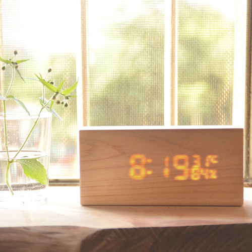 一郎木創|檜木LED時計 木頭時鐘