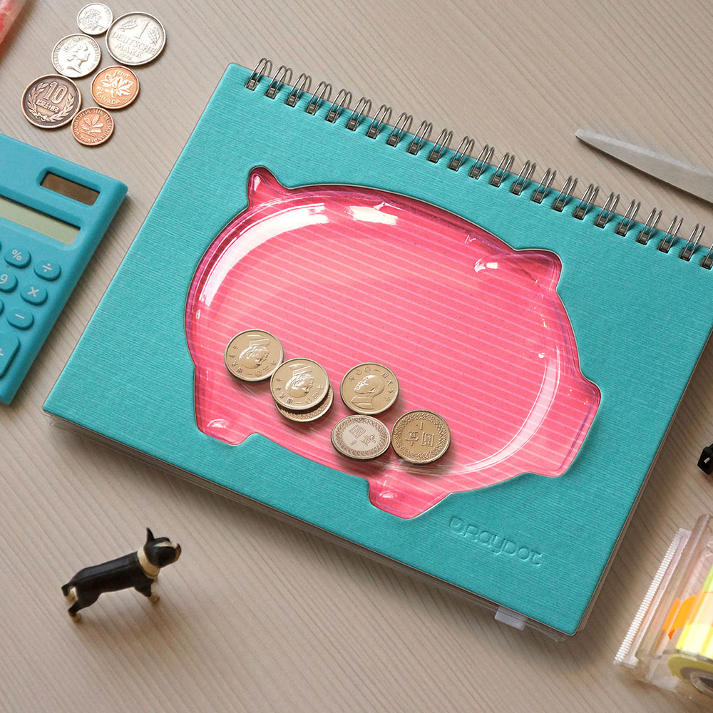 RayDot|小豬撲滿筆記本(藍)