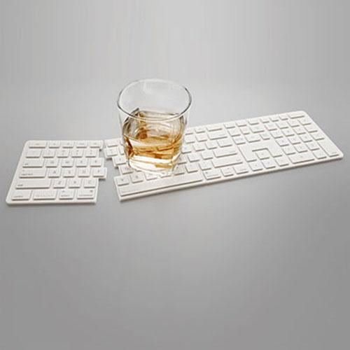 RayDot 鍵盤杯墊-4片組(白)
