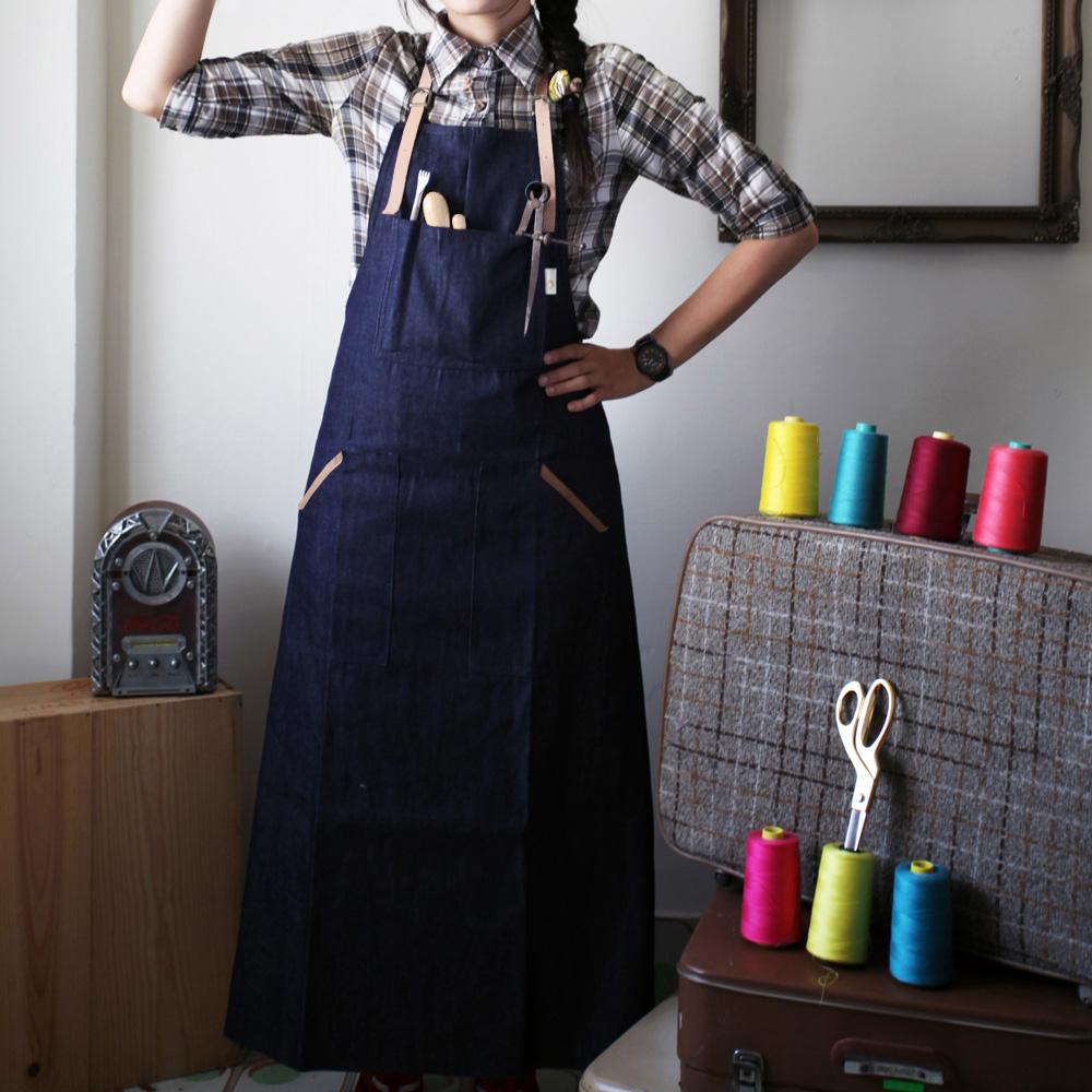 la yoo來喲 牛仔真皮職人/烹飪/畫家/皮匠專用工作服(長版)