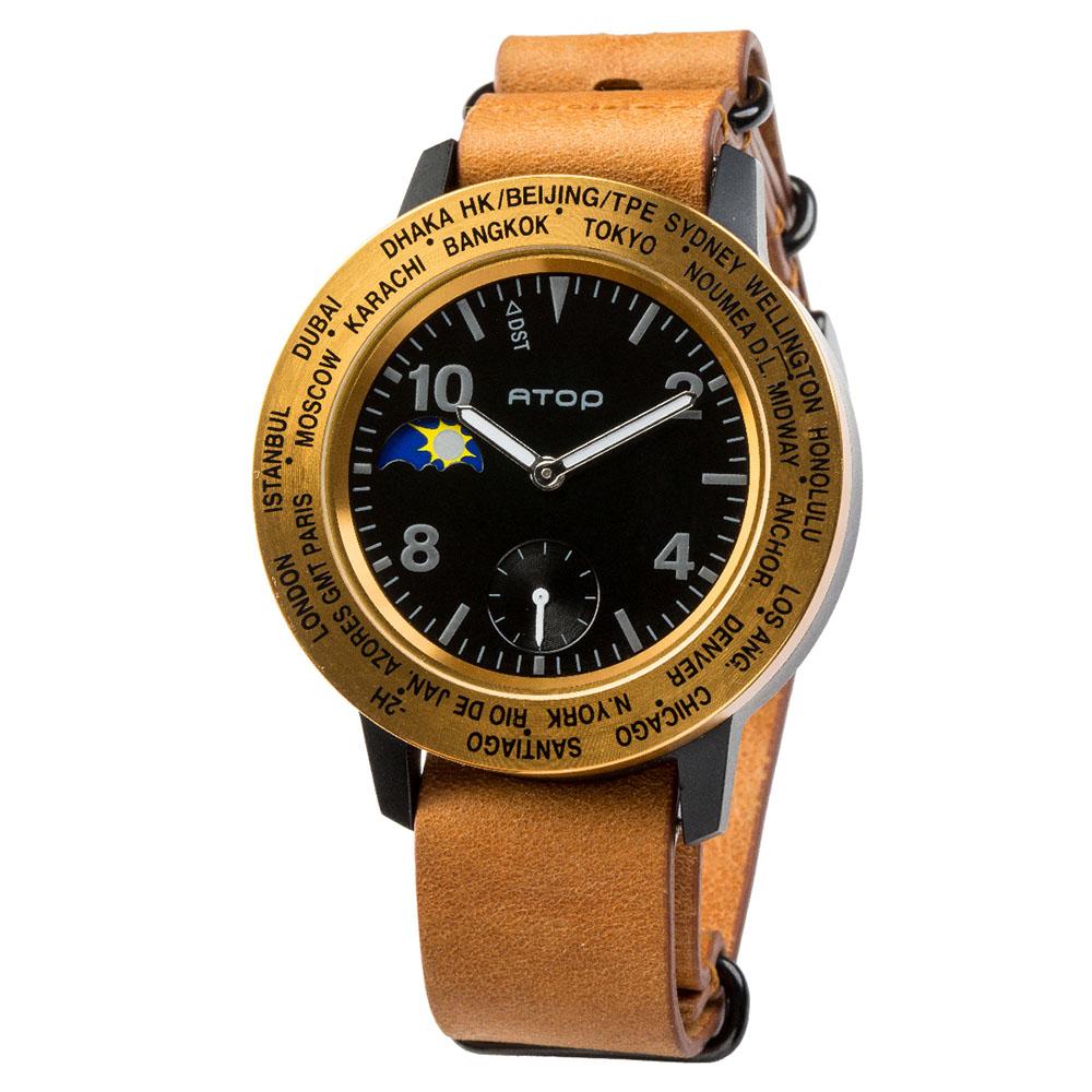 ATOP 世界時區腕錶 - AWA-BKGD-L03 黑金