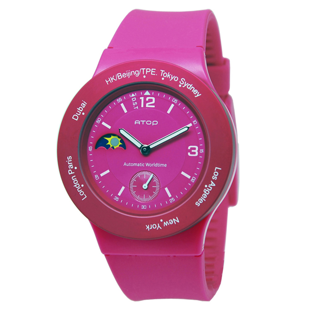 ATOP|世界時區腕錶-8時區系列(粉紅)