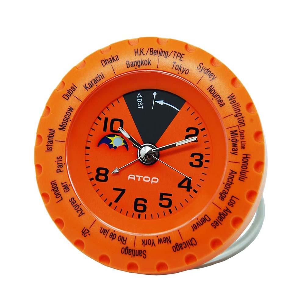 ATOP|世界時區腕錶-24時區馬卡龍鬧鐘(橘色)