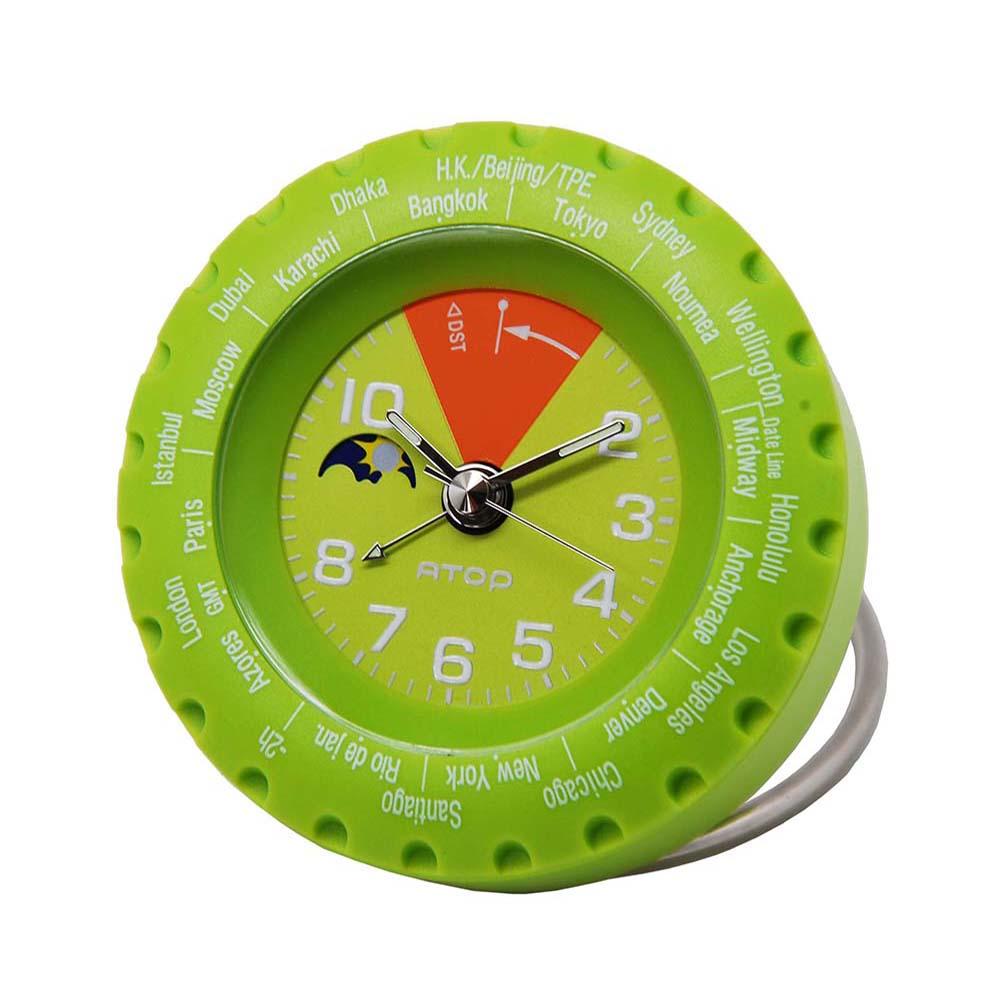 ATOP|世界時區腕錶-24時區馬卡龍鬧鐘(芥末綠)