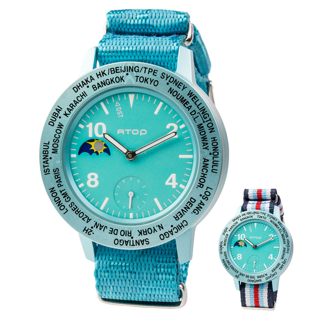 ATOP 世界時區腕錶 - AWA-14-C05C06 藍綠色