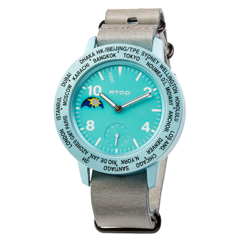 ATOP 世界時區腕錶 - AWA-14-L04 藍綠色