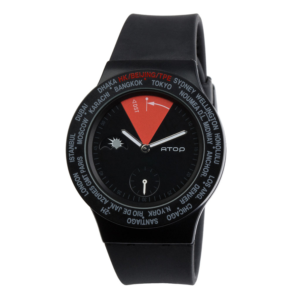 ATOP|世界時區腕錶-24時區經典系列(黑紅)