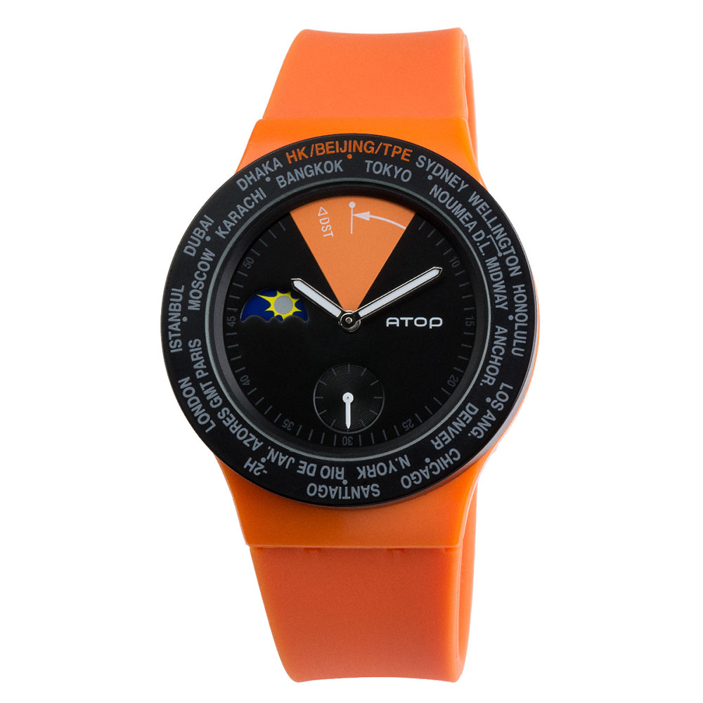 ATOP|世界時區腕錶-24時區經典系列(橘色)