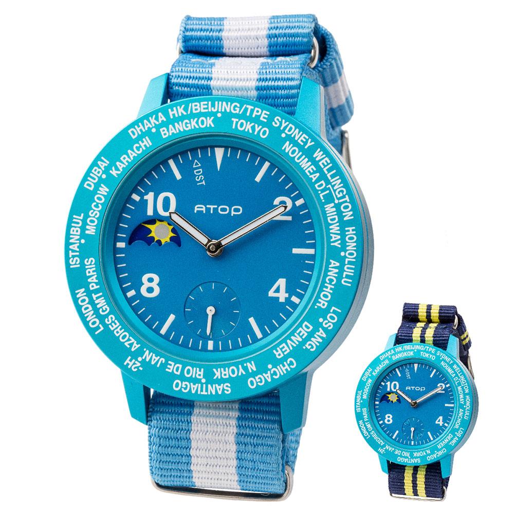 ATOP 世界時區腕錶 - AWA-04-C03C04 藍色