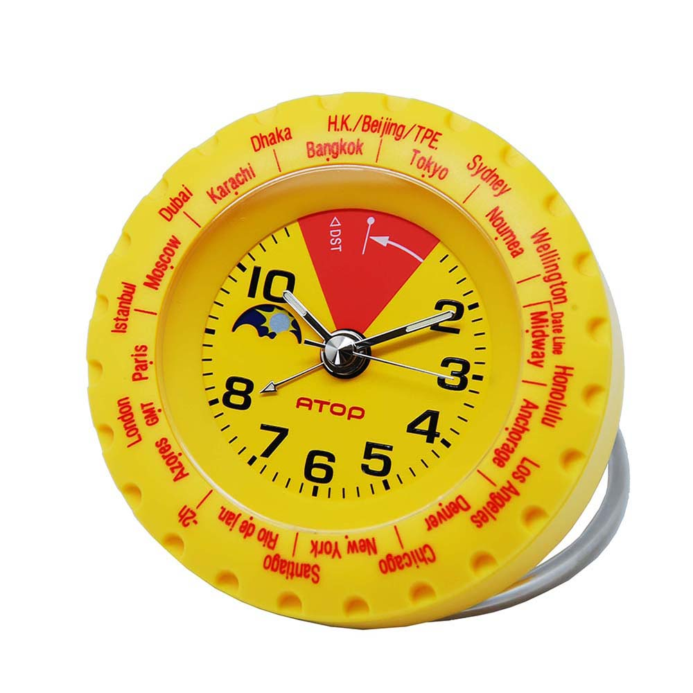 ATOP|世界時區腕錶-24時區馬卡龍鬧鐘(黃色)