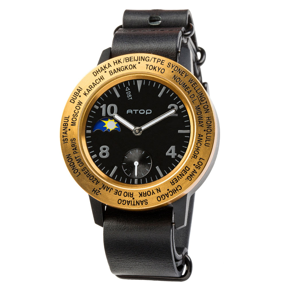 ATOP 世界時區腕錶 - AWA-BKGD-L01 黑金