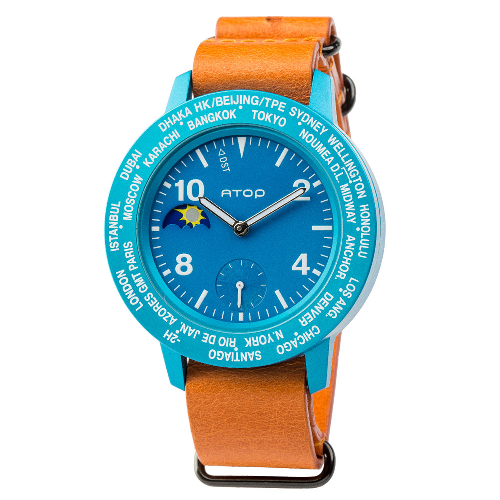 ATOP 世界時區腕錶 - AWA-04-L06 藍色