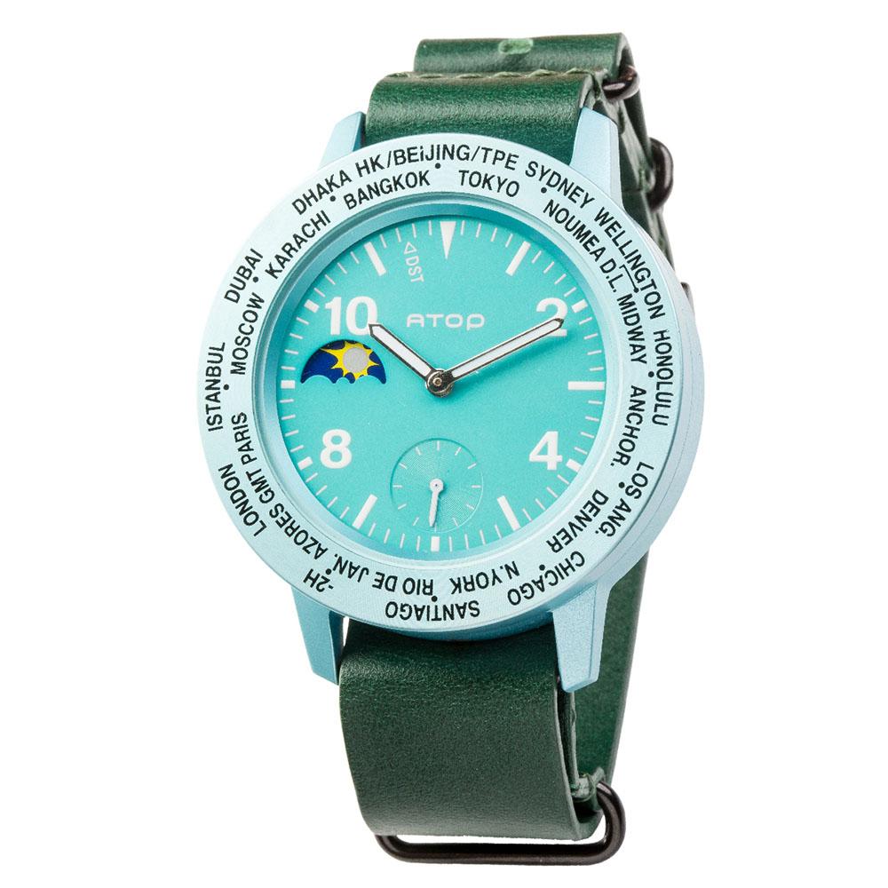 ATOP 世界時區腕錶 - AWA-14-L05 藍綠色