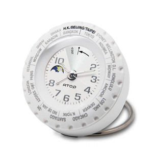 ATOP|世界時區腕錶-24時區馬卡龍鬧鐘(白銀)
