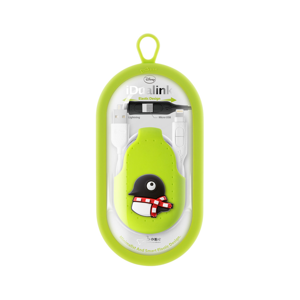 Bone|二合一雙頭傳輸線 - 企鵝Maru   充電線 兩用線 Android APPLE官方認證 iPhone