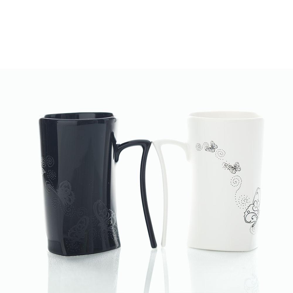 集瓷cocera 斑斕蝶影變色寧靜杯-黑白對杯