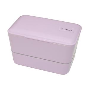 TAKENAKA BENTO BOX 大容量粉彩雙層便當盒(附繩)-薰衣草色