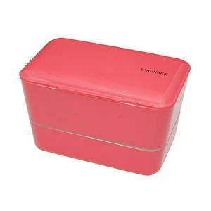 TAKENAKA BENTO BOX 大容量粉彩雙層便當盒(附繩)-玫瑰色
