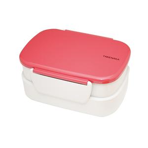 TAKENAKA BENTO BOX 粉彩扣環雙層便當盒-玫瑰色