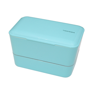 TAKENAKA BENTO BOX 大容量粉彩雙層便當盒(附繩)-淡藍色