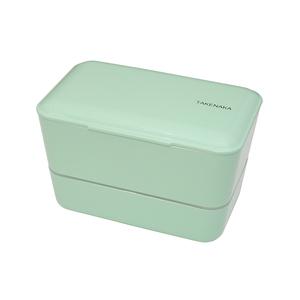 TAKENAKA BENTO BOX 大容量粉彩雙層便當盒(附繩)-薄荷色