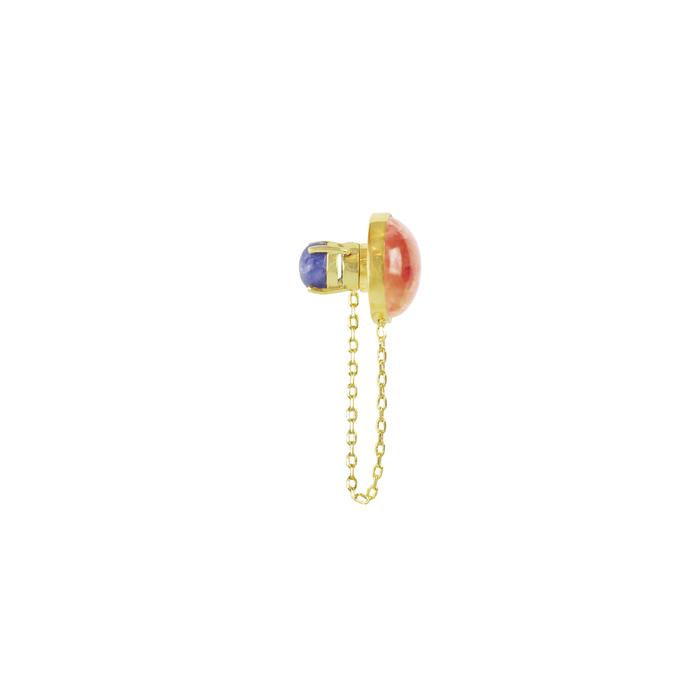 (複製)OLIVIA YAO JEWELLERY|GREEN ZEIT 金色孔雀石與黃水晶強力磁鐵耳環