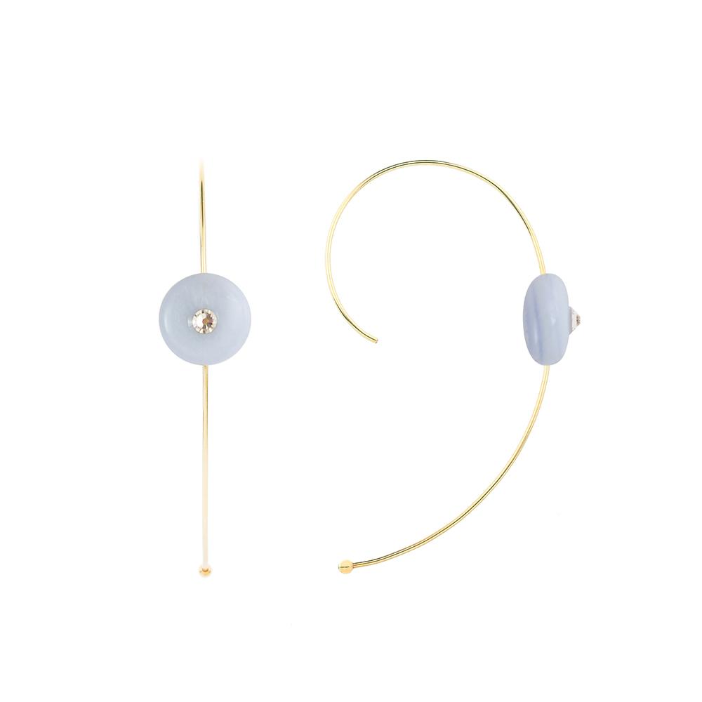 OLIVIA YAO JEWELLERY|BLUE LACE CURVE 14K合金藍紋瑪瑙耳環