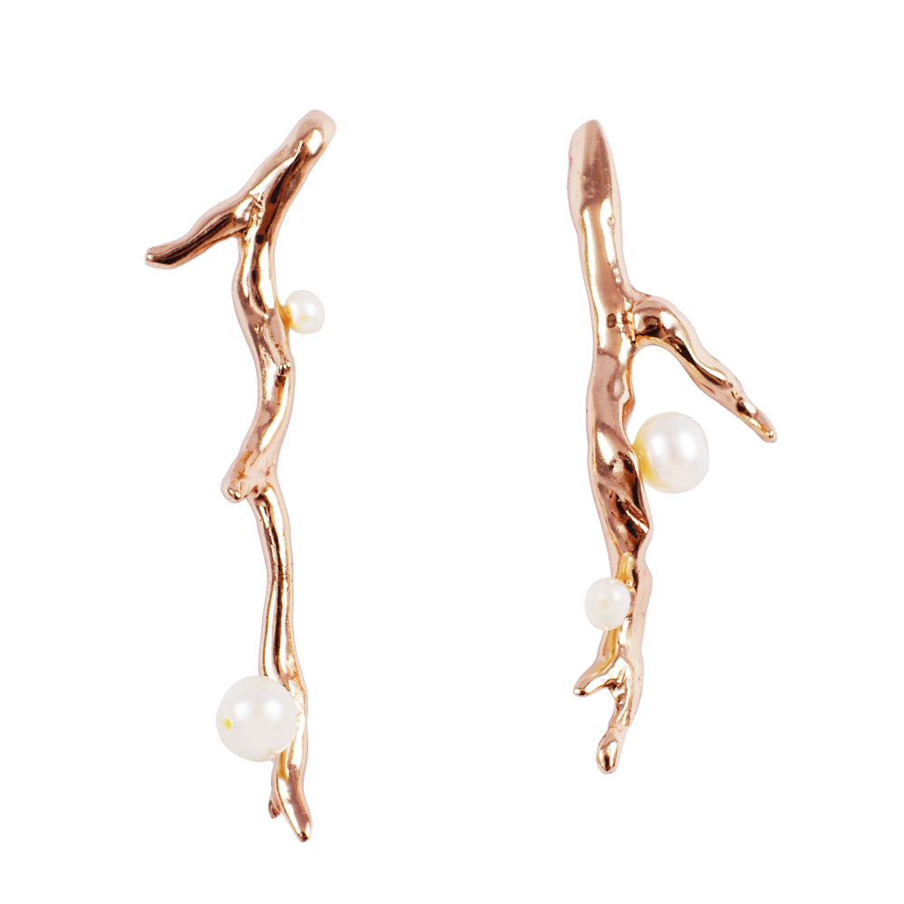 OLIVIA YAO JEWELLERY|ROUGE LAURIER EARRINGS 玫瑰金桂冠耳環
