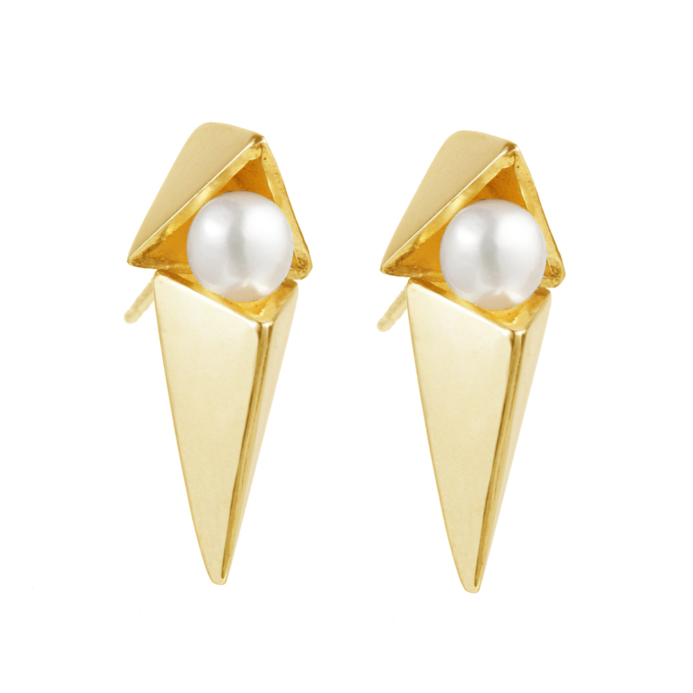 OLIVIA YAO JEWELLERY|POSH VEGA EARRINGS 純銀雙三角珍珠耳環(金)
