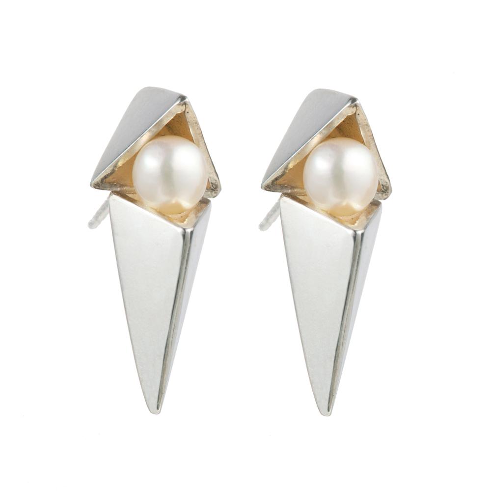 OLIVIA YAO JEWELLERY|POSH VEGA EARRINGS 純銀雙三角珍珠耳環(銀)