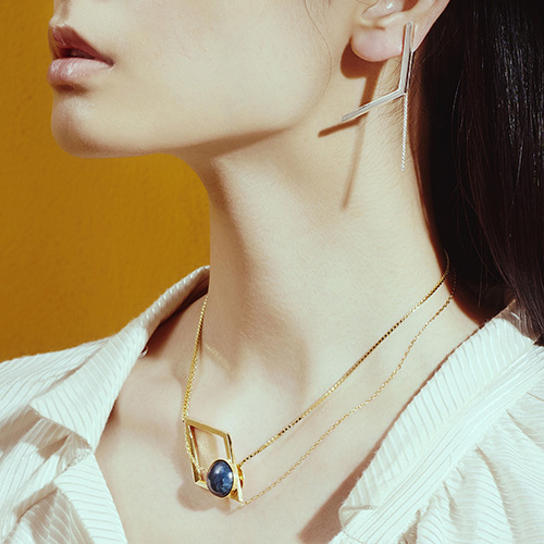 OLIVIA YAO JEWELLERY MARCO NECKLACE 銀色藍紋瑪瑙項鍊
