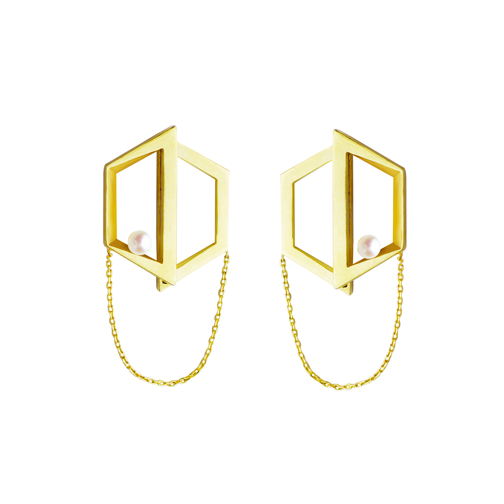 OLIVIA YAO JEWELLERY|FIELD 金色幾何強力磁鐵耳環