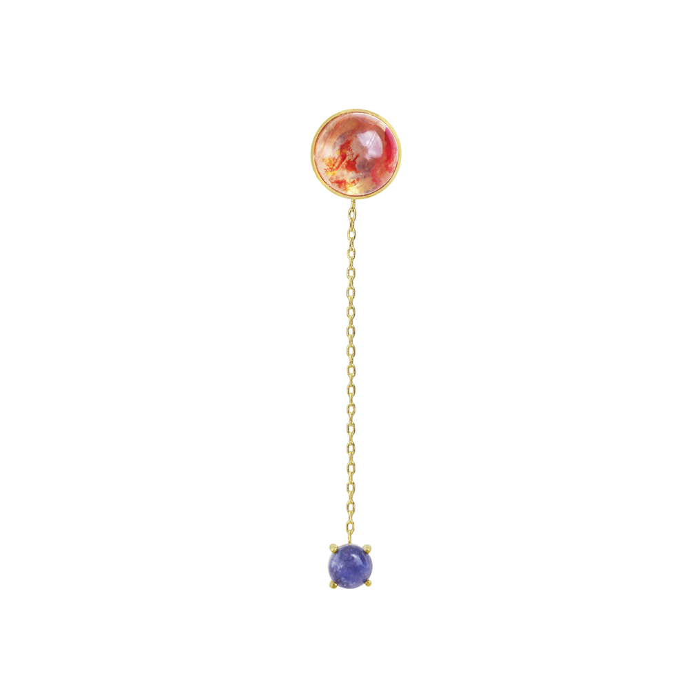 OLIVIA YAO JEWELLERY|RED ZEIT 金色血石英與丹泉石強力磁鐵耳環