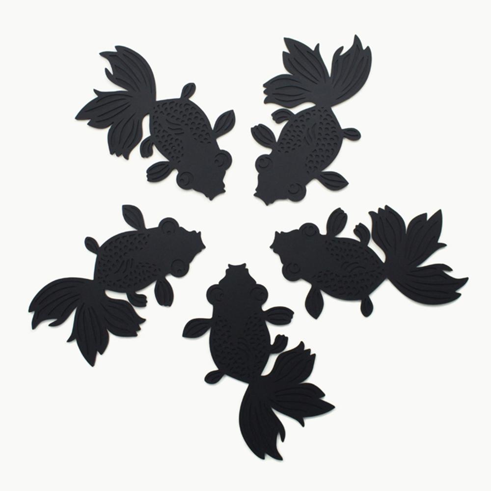dipper|原創彩色金魚杯墊/桌墊/隔熱墊-5入-黑色