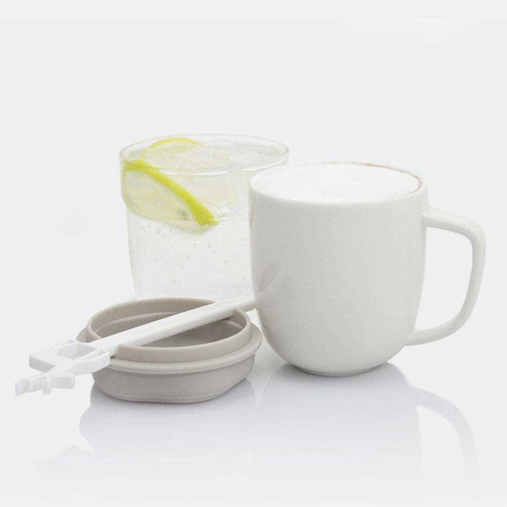 dipper 1+1 灰麋鹿雙杯組(馬克杯+玻璃杯+攪拌棒+杯蓋)