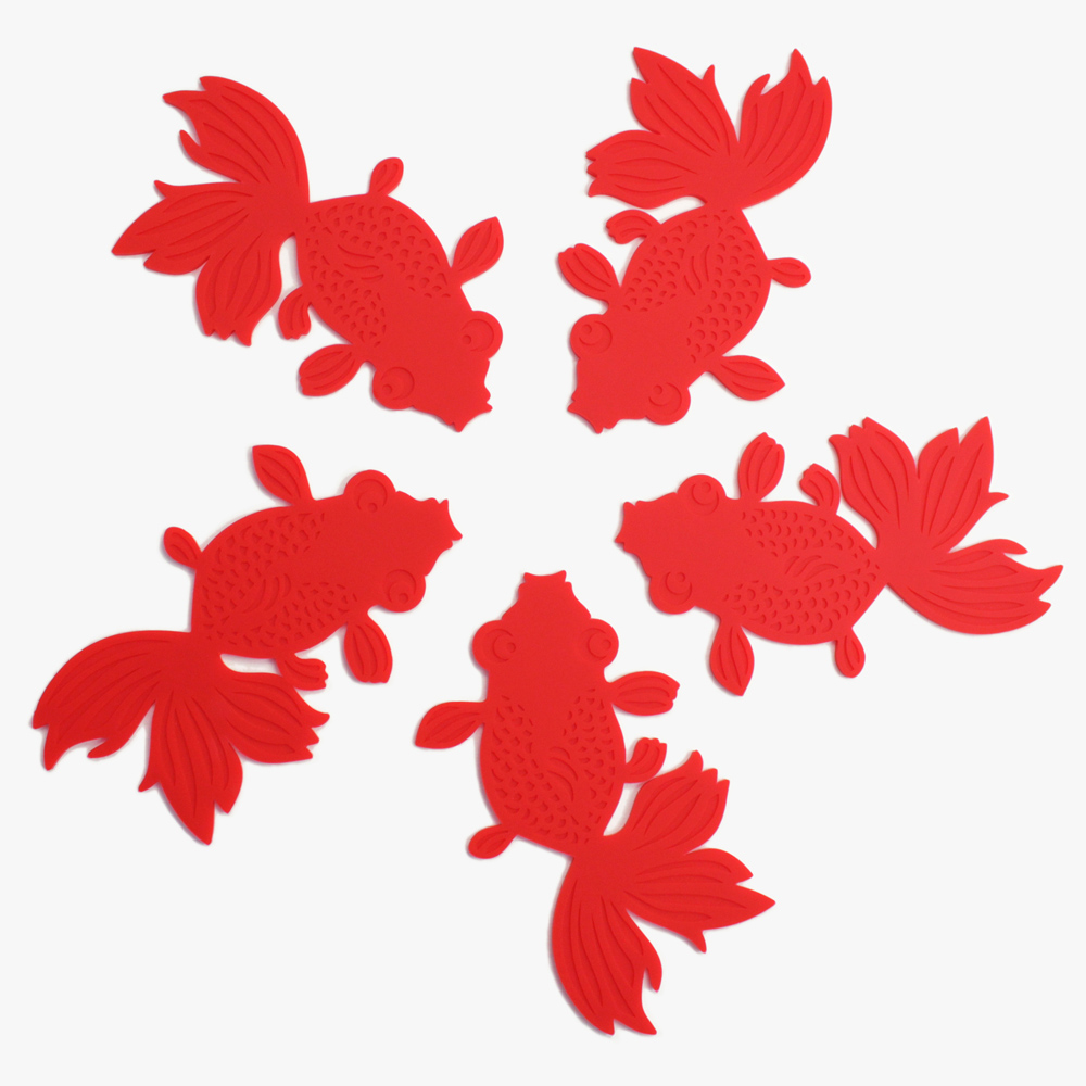 dipper|原創彩色金魚杯墊/桌墊/隔熱墊5入-紅色