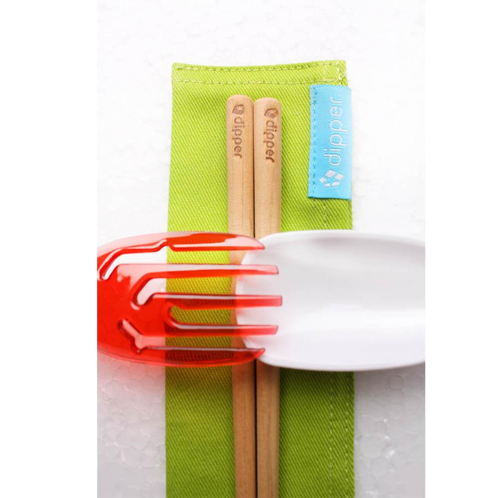 dipper|3合1檜木環保餐具筷叉匙組-莓果紅