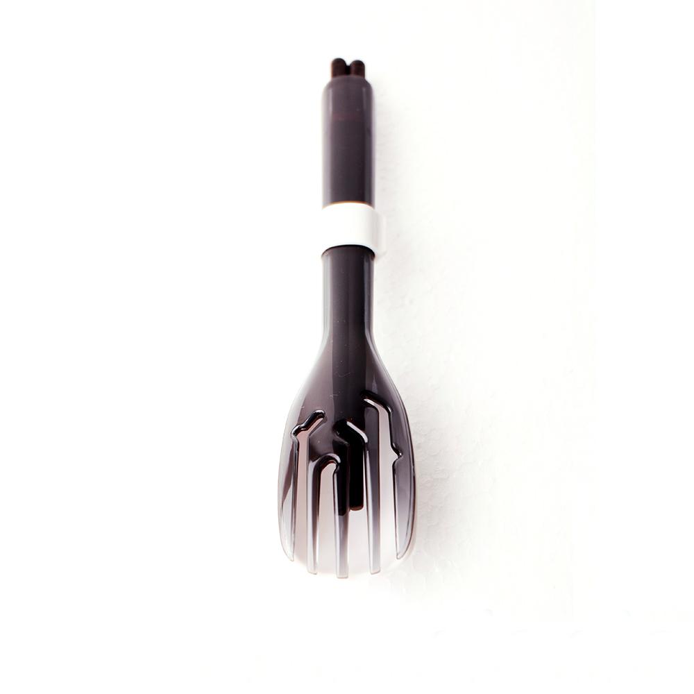 dipper 3合1黑檀木環保餐具筷叉匙組-潑墨黑