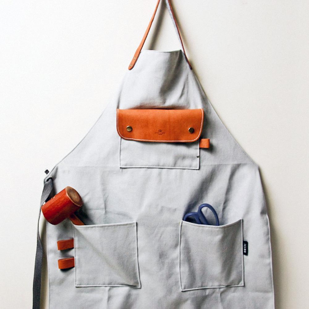 icleaXbag 手作皮革工作圍裙(簡約灰)
