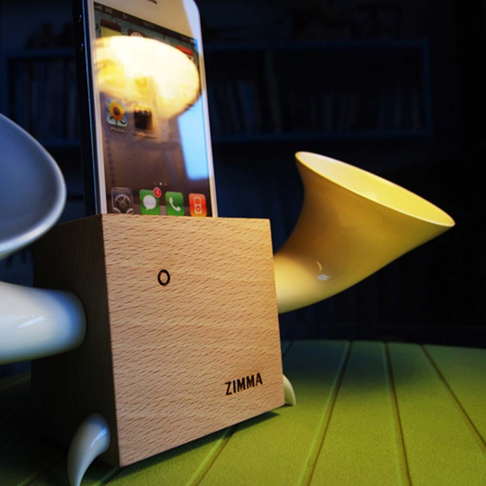 GeckoDesign|ZIMMA 山毛櫸擴音器  for iPhoneSE /  i5系列 / i4系列 / iPod Touch 5(原木/白)