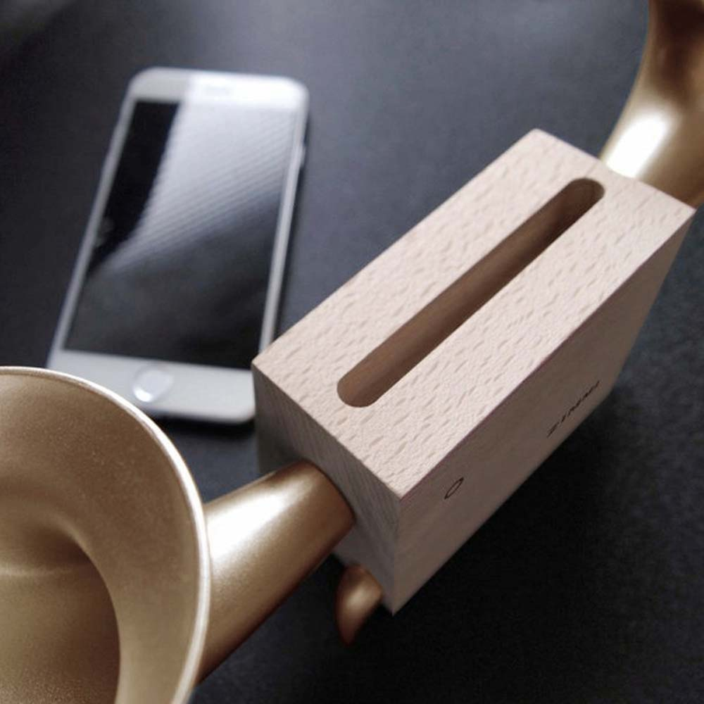 GeckoDesign|ZIMMA 山毛櫸擴音器for iPhone 系列/Android部分機型(原木/土豪金)