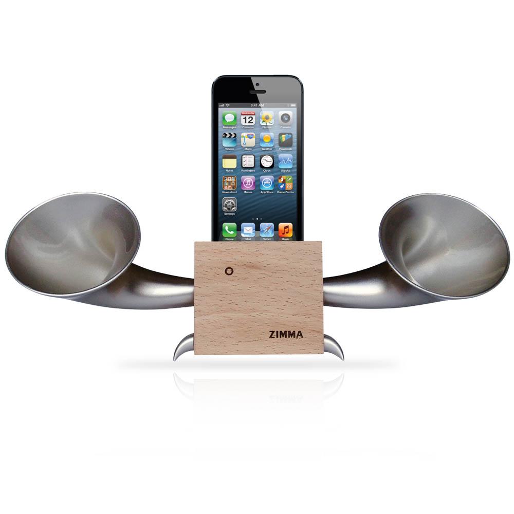 GeckoDesign|ZIMMA 台灣檜木擴音器  for iPhoneSE /  i5系列 / i4系列 / iPod Touch 5(原木/銀)