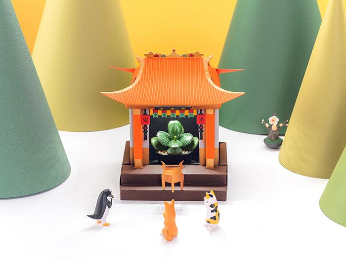 Fesc:l|桌上LED植物燈 好運小神廟 x 虎爺護身符