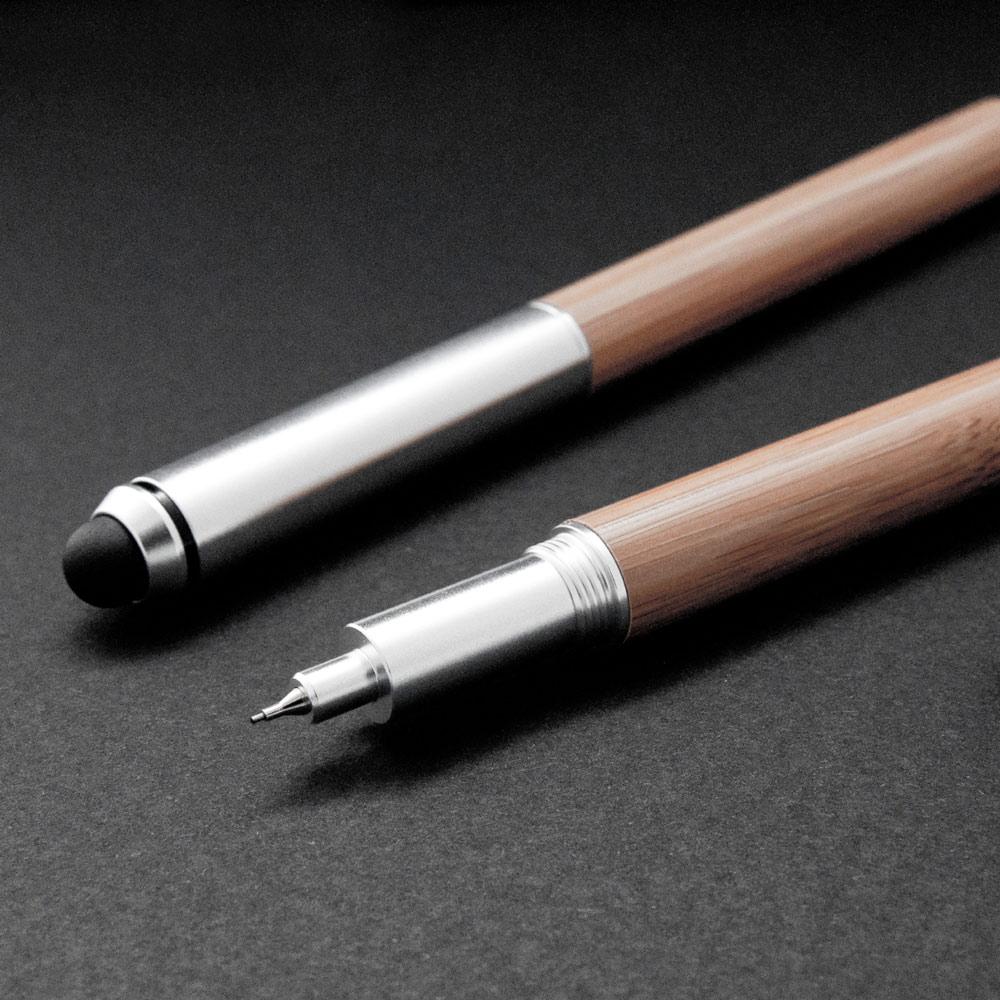ISHUJA|now&then ECO竹系列-書寫觸控兩用筆-中性筆+自動鉛筆組(銀色)