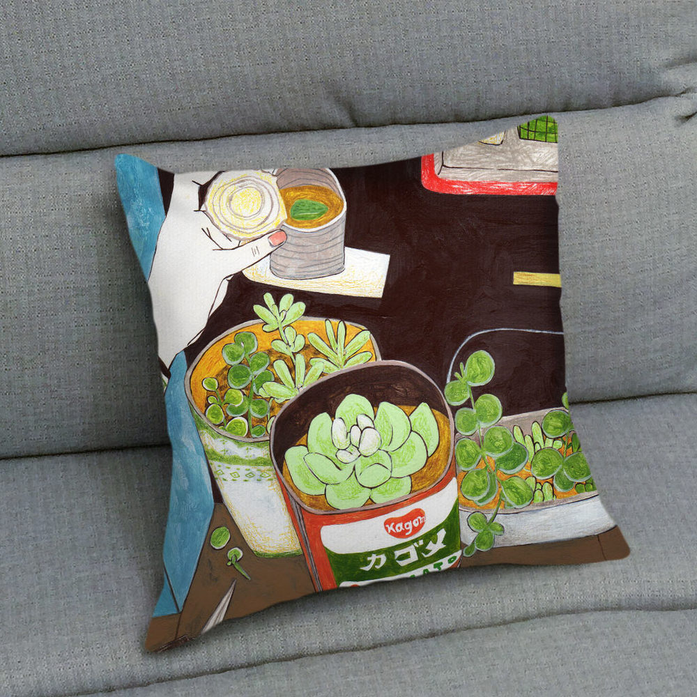 UMade|藝術家創作抱枕 - 用多肉植物造一個自己的陽臺B - 裴小馬Pony Pei (48x48cm)