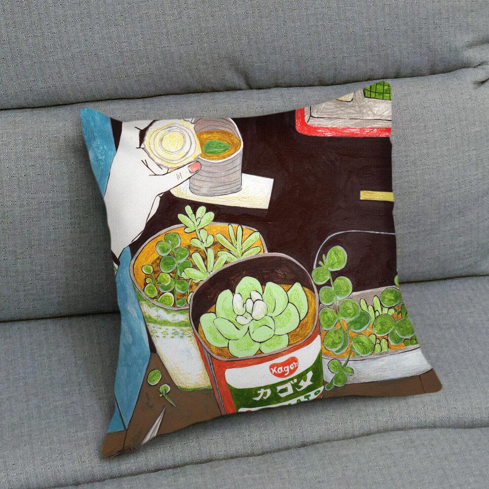UMade|藝術家創作抱枕 - 用多肉植物造一個自己的陽臺B - 裴小馬Pony Pei (40x40cm 不含枕心)
