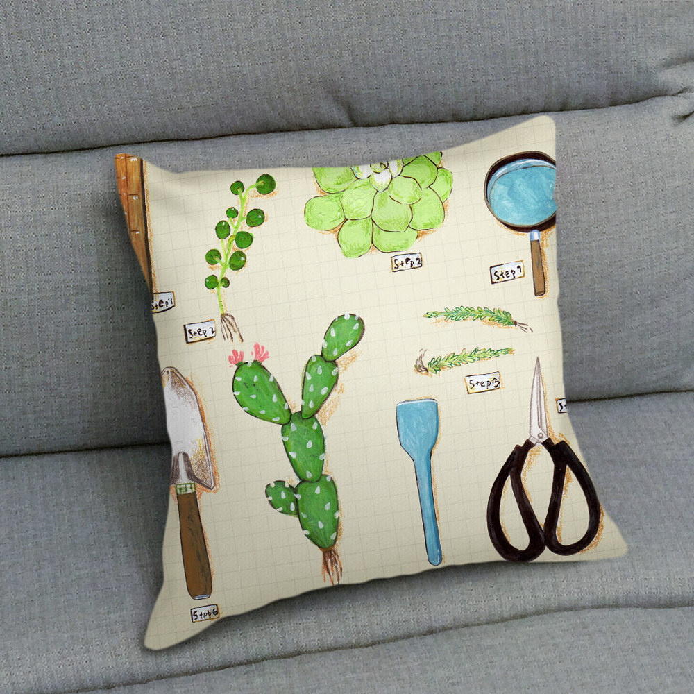 UMade|藝術家創作抱枕 - 用多肉植物造一個自己的陽臺A - 裴小馬Pony Pei (48x48cm)